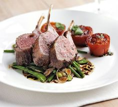 Gordon Ramsay's Rack of lamb with warm salad of mixed beans & slow-roast tomatoes via www.clubw.com @clubw #wine #recipe