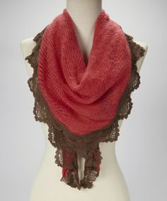 Coral Lace-Trim Scarf (troo)