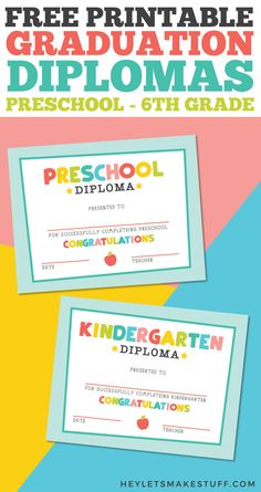 Free Printable Graduation Diploma: Preschool through 6th Grade