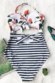 7c1b85c177 Cupshe Fashion Women's Leaves Printing Stripe Halter One-piece Padding  Swimsuit with Cutout at Amazon
