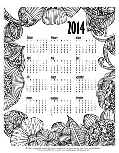 Happy last Coloring Monday of 2013! Click here to to add some color to 2014  http://valentinadesign.com/images/printables/2014_12_30_VH.pdf