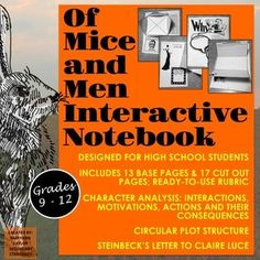 This Of Mice and Men Interactive Notebook focuses on close analysis of the cast of characters in Steinbeck's Of Mice and Men. relationships between the characters; their dialogue, motivations, and actions--and the r I School, High School Students, School Stuff, Middle School, School Ideas, American Literature, English Literature, Teaching Tools, Teacher Resources