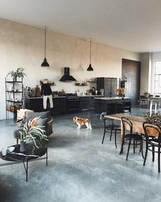 industrial kitchen - loft / studio inspiration - concrete floor - vintage elements