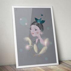 #girl #waterlove #fish #illustration shop it at DaWanda (http://de.dawanda.com/product/63970199-Druck-Water-Love)