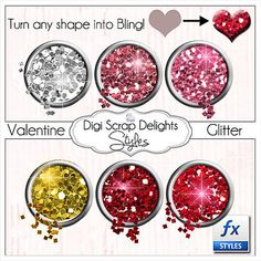 Photoshop Glitter Styles in Red Pink Silver by DigiScrapDelights Red And Pink, Digital Scrapbooking, Christmas Bulbs, Photoshop, Clip Art, Bling, Glitter, Shapes, Holiday Decor
