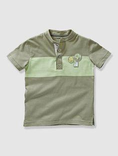 Camiseta tunecina de manga corta niño BLANCO CLARO LISO CON MOTIVOS+VERDE MEDIO BICOLOR/MULTICOLOR