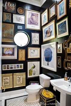 A powder room is just a rather more fancy way of referring to a bathroom or toilet room. Just like in the case of a regular bathroom, the powder room may present different challenges related to its interior design and… Continue Reading → Old Bathrooms, Small Bathroom, Bathroom Black, Bathroom Artwork, Bathroom Ideas, Bathroom Gallery, Boho Bathroom, Pictures In Bathroom, Master Bathroom