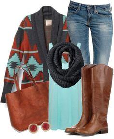 Aztec cardigan & cognac boots