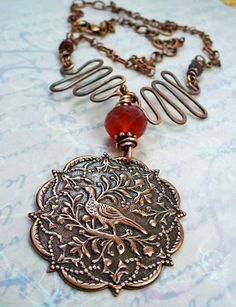 Ornate Copper Bird Pendent Necklace w by RoEnchantedDesigns, $25.00