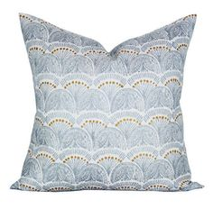 This listing is for one Faris Silver pillow cover with the same fabric ON BOTH SIDES.   DESCRIPTION Fabric made by: John Robshaw Textiles Pillow made by: Spark Modern Colors: Gold, gray, ivory   DETAILS Pattern placement WILL VARY from the listing photo. This fabric is hand-printed and there are printing variations in the pattern.  The square pillow cover shown in the listing photo is 20 x 20 with a 22 down blend insert, and the lumbar cover is 12 x 20 with a 12 x 22 insert. Inserts are…