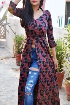 Buy Multicolor Front Slit A-Line Cotton Silk Kurti Online in India Indian Designer Outfits, Indian Outfits, Designer Dresses, Kurti With Jeans, Dress Over Jeans, Kurta Designs Women, Silk Kurti Designs, Shrug For Dresses, Spring Work Outfits