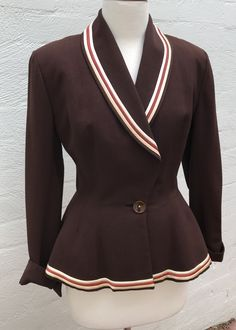 1940s Lilli Ann jacket in chocolate wool with satin trim