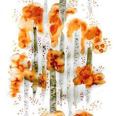 Design: BJÖRKAR (orange) Designer: Louise Videlyck (Sweden) Manufacturer: Arvidssons Textil Composition: 100% Cotton  Width: 140 cm  Repeat: 135 cm