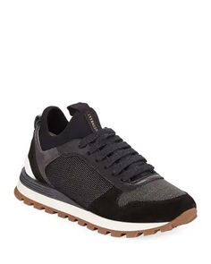 X4NJ4 Brunello Cucinelli Suede & Neoprene Monili Beaded Sneakers Leather And Lace, Pebbled Leather, Pierre Hardy, Stella Mccartney Adidas, Running Sneakers, Brunello Cucinelli, Leather Sneakers, Oxford Shoes, Dress Shoes