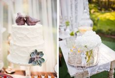 Love this sweet vintage wedding cake! Wedding Topper, Wedding Cakes, Bird Cakes, Wedding Reception, Wedding Ideas, Over The Rainbow, Sweet And Salty, Beautiful Cakes, Got Married