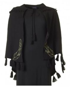 Enchanting Embroidered Tassle Trim Cape