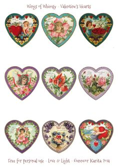 Have you started making Valentine Heart ornaments yet? Here's anther batch of Vintage Hearts for you, green and purple today: This collage sheet is free for your personal use and enjoyment. Vintage Tags, Vintage Labels, Vintage Ephemera, Vintage Prints, Printable Vintage, Vintage Heart, Valentine Heart, Valentine Crafts, Etiquette Vintage