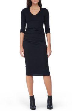Michael Stars Side Ruched Midi Dress