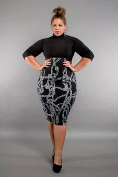 JIBRI Plus Size High Waist Pencil Skirt Gray Swirl by jibrionline