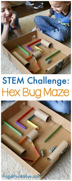 STEM Challenge for Kids:  Build a Hex Bug Maze with Cardboard Tubes and Craft Sticks