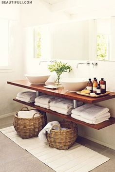 Wood floating shelf with vessel sink for small bath.