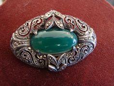 1920's Art Deco Sterling Marcasite Green Chrysoprase Brooch/$75