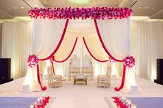 Mandap for indian wedding Desi Wedding Decor, Wedding Hall Decorations, Marriage Decoration, Wedding Mandap, Wedding Venues, Simple Stage Decorations, Wedding Bed, Dream Wedding, Arch Wedding
