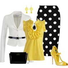 """Polka Dots with Yellow Accents"" by justbeccuz on Polyvore  LOVE the yellow!!"