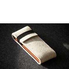 White Natural Felt Leather Pen Case Honey Leather Hand-stitched