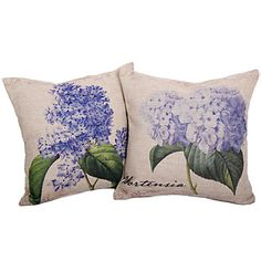 Set+of+2+Country+Hydrangea+Cotton/Linen+Decorative+Pillow+Cover+–+USD+$+23.99