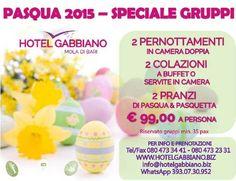 Speciale Pasqua 2015 per GRUPPI by Hotel Gabbiano Mola di Bari:- 2 Pernottamenti in camera doppia con 2 prime colazione a buffet o servite in camera- Pranzo di Pasqua & Pranzo di PasquettaA soli �