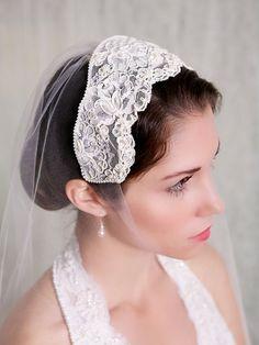 Juliette Cap Lace Bridal Cap Vintage Lace by GildedShadows on Etsy