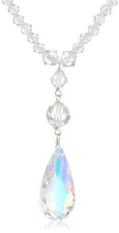 Sterling Silver Swarovski Elements Crystal Bicone and Faceted Round Bead Necklace with Crystal Aurora Borealis Tear Drop Pendant Necklace, 1... is on sale now for - 25 % !
