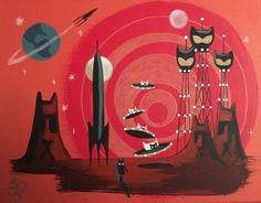 EL GATO GOMEZ PAINTING RETRO MARTIAN OUTER SPACE ROCKET ROBOT SCI-FI BLACK CAT