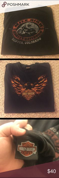 Harley Davidson Mile High T-Shirt Harley Davidson Mile High T-Shirt. No size listed, but would best fit oversized Medium-large. Authentic. Vintage. No signs of damage or wear, but slight fading and cracking to graphics as expected. Urban Outfitters Tops Tees - Short Sleeve