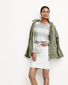 J.Crew women's convertible zip anorak jacket, summerweight sweater in stripe, frayed denim pencil skirt in white and iridescent chandelier earrings. To pre-order, call 800 261 7422 or email verypersonalstylist@jcrew.com.