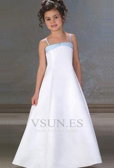 Vestido+niña+ceremonia+Niña+boda+Escote+de+Tirantes+Espaguetis+Satén+Cremallera
