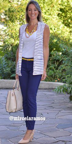 Look de trabalho - look do dia - look corporativo - moda no trabalho - work outfit - office outfit -  spring outfit - look executiva - summer outfit - colete alongado - colete de listras - navy - blue - yellow - amarelo