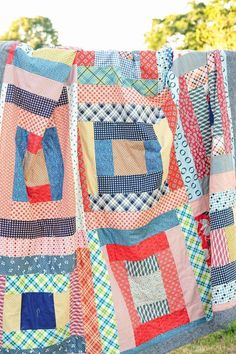 May Giant Block Picnic Quilt made with Denyse Schmidt Fabrics - tutorial can be found at Kitchen Table Quilting