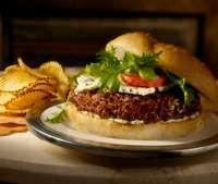 Spicy Buffalo Black Bean & Quinoa Burger With Vegan Bleu Cheese Sauce | Girls Gone Sporty