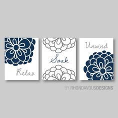Floral Relax Soak Unwind Print Trio - Bathroom Home Decor Wall. Flower Bath Art. Flower bath Decor. Photo Paper or Canvas (NS-287)  You will receive all three prints in the size you select. Each one will measure the size selected. Please select either photo paper (Frames not Included) or Canvas. The colors used are navy, gray and white. If you would like to change the colors to match your rooms decor, just add your request in the notes section at checkout. PLEASE READ!!!!!!!!!  ★ ★ ★ ★ ★…