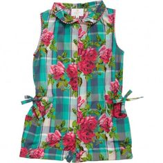 Liberty London Girls Cotton Playsuit with Hyderabad Print  at Childrensalon.com