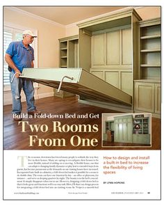 Murphy Bed - Build a Fold-Down Bed and Get Two Rooms from One - Fine Homebuilding Article Murphy-bett Ikea, Fold Down Beds, Murphy Bed Plans, Murphy Beds, Build A Murphy Bed, Guest Room Office, Guest Rooms, Guest Bed, Creation Deco