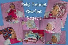 Baby Bonnets Free Crochet Pattern By Sara Sach of Posh Pooch Designs A Fellow Crocheter and Photographer asked me if I could desig. Baby Bonnet Pattern, Crochet Baby Bonnet, Crochet Baby Hat Patterns, Crochet Headband Pattern, Crochet Bebe, Baby Patterns, Free Crochet, Ravelry Crochet, Stitch Patterns