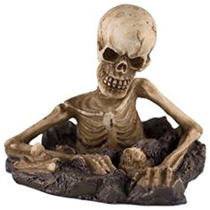 """Custom & Unique {2.15"""" x 2.3"""" Inch} 1 Single, Small Home & Garden """"Standing"""" Figurine Decoration Made of Grade A Resin w/ Spooky Buried Skeleton Bobble Head Style {White, Brown, & Black}"""