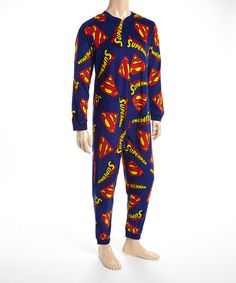 Look at this Blue & Red Superman One-Piece Pajamas - Men on #zulily today!
