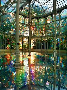Kimsooja's Room of Rainbows in Crystal Palace Buen Retiro Park, Madrid Spain .