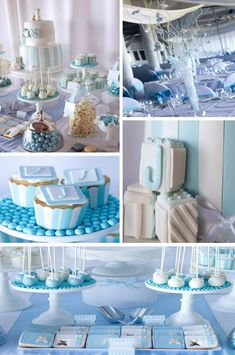 Blue Christening Birthday Party with LOTS of cute Ideas via Kara's Party Ideas | Kara'sPartyIdeas.com #blue #christening #birthday #party #supplies #ideas