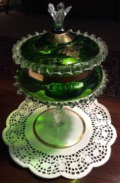 Glass Able Czechoslovakia Green Glass Fruit Bowl And Dishes Crazy Price Pottery & Glass