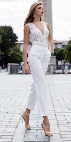 wedding pantsuit ideas fashion lace sleeveless v neckline liretta